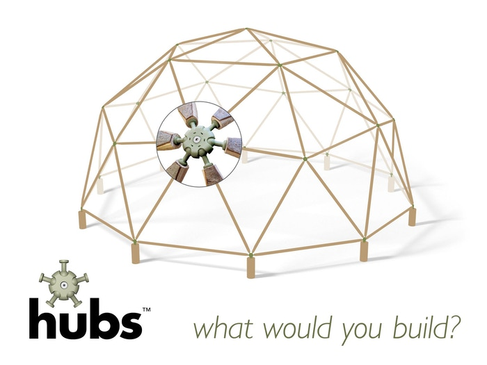 Simple to snap together joints that make durable geodesic domes fun, easy and quick to build.