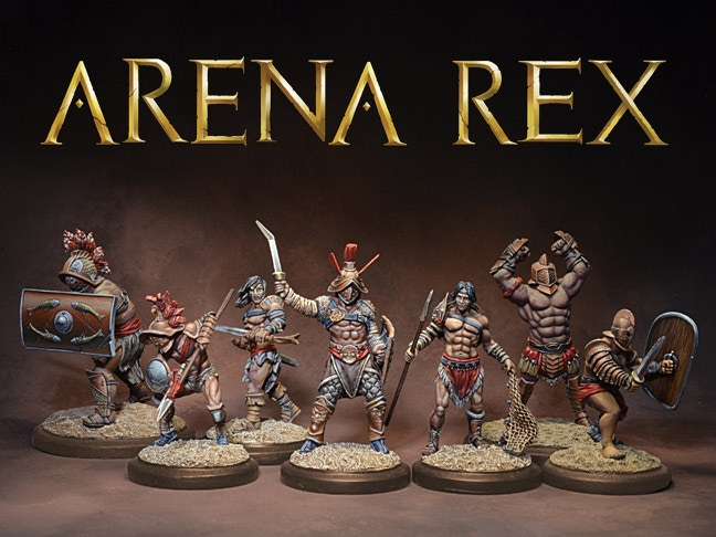 Gladiator miniatures and an arena skirmish game in a world where history, myth, and legend intersect.
