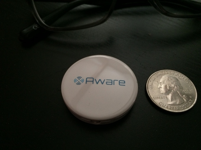 AwareDevice: 36mm diameter and 6mm thickness