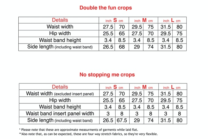 Size Chart Crops