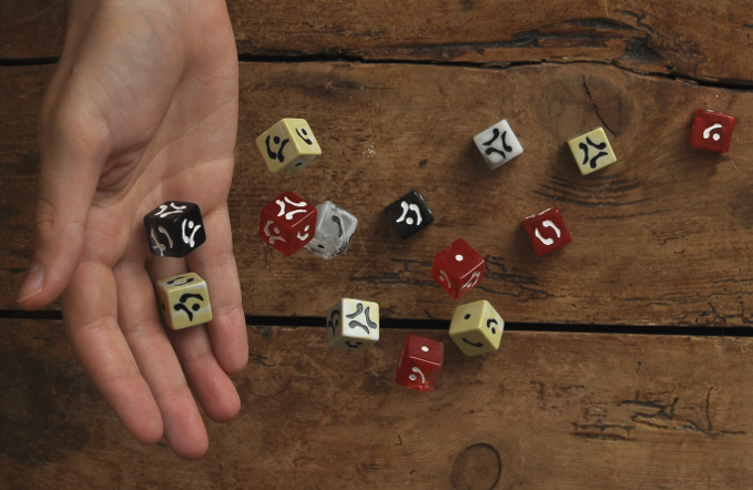 These dice look very different to any others, and are great fun to roll!