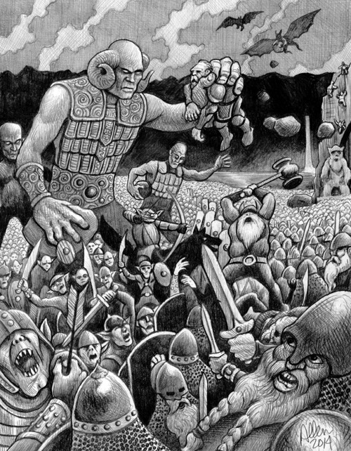 Epic battle between the Stone-Cutter dwarves and Young Krassus the Cambion. Art Mark Allen, 2014.