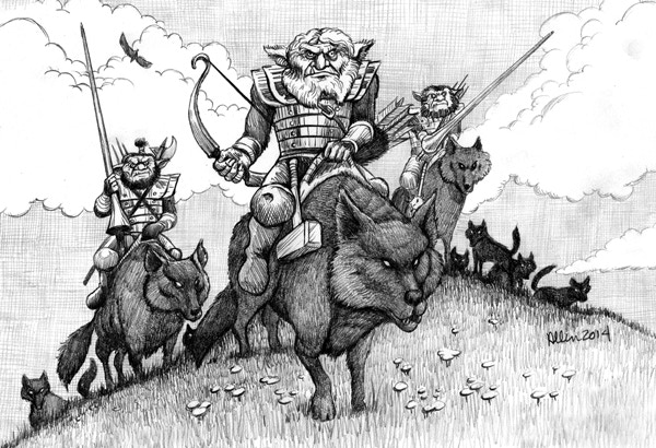 The Hunting Party. A new threat for the players exploring the first level of the Tomb. Art Mark Allen, 2014.