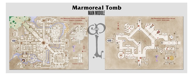 Maps included in the Main Module, along with keys and all relevant information. Cartography Benoist Poiré.
