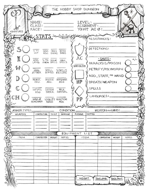 First page of the GP Character Record Sheet. Art Mark Allen, on a design by E. Gygax and B Poiré.