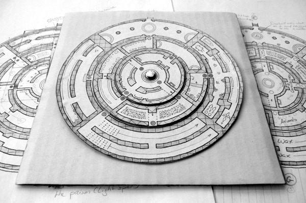 Prismatic Maze, assembled prototype. Cartography Benoist Poiré.