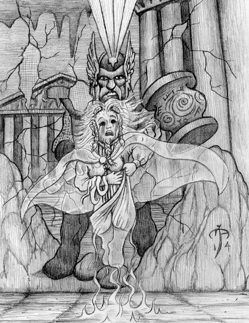 Belenor wall painting and the ghost of his wife. Art Mark Allen, 2014.