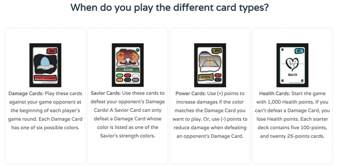 The current version of the game has a total of 32 unique card designs (16 Damage Cards, 2 Health Cards, 8 Savior Cards, and 6 Power Cards). If the Kickstarter campaign shows promising signs, additional cards might be designed and added to the game.