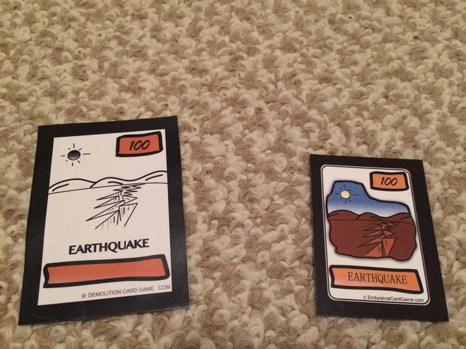 An early prototype and a more recent version of the same card.