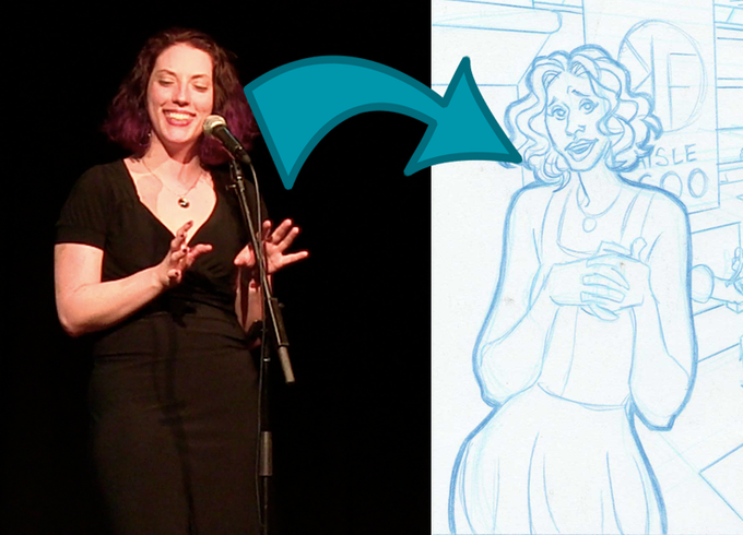 Emily Bingham on Stage and Emily on the Page (Art by Mark Dos Santos)
