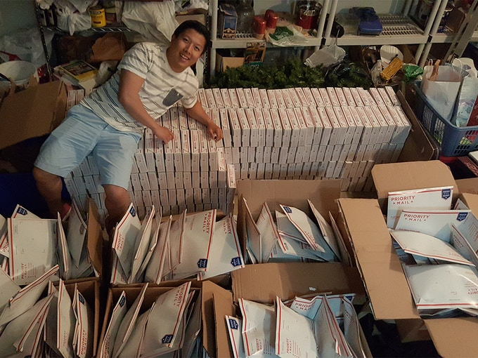 After packing up 1,000 samples to ship out for Reddit (an online news community)