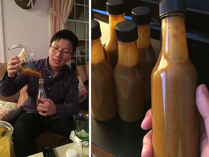 Bottling homemade WUJU by hand over Christmas; First unlabeled bottles produced by a manufacturer at R&D!