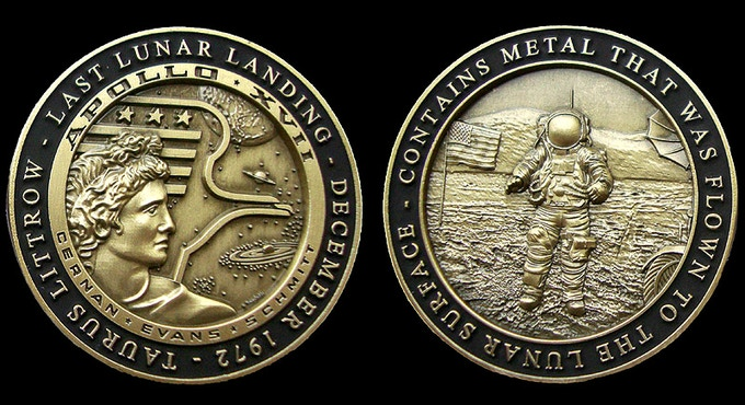 1.75 inch Diameter Medallion, in Antique Bronze with black enamel.  Contains metal that was Flown to the Lunar Surface