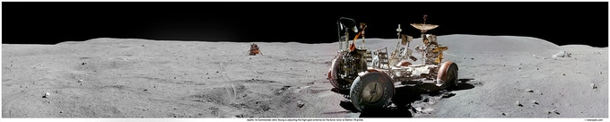 Apollo 16 Station 10 Prime - John Young at the Lunar Rover