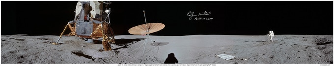 40x8 inch print, signed by Apollo 14 Moonwalker, Edgar Mitchell