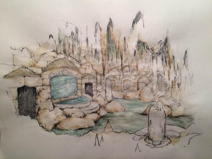 Grotto rendering by Scenic Designer Elisabeth Svenningsen