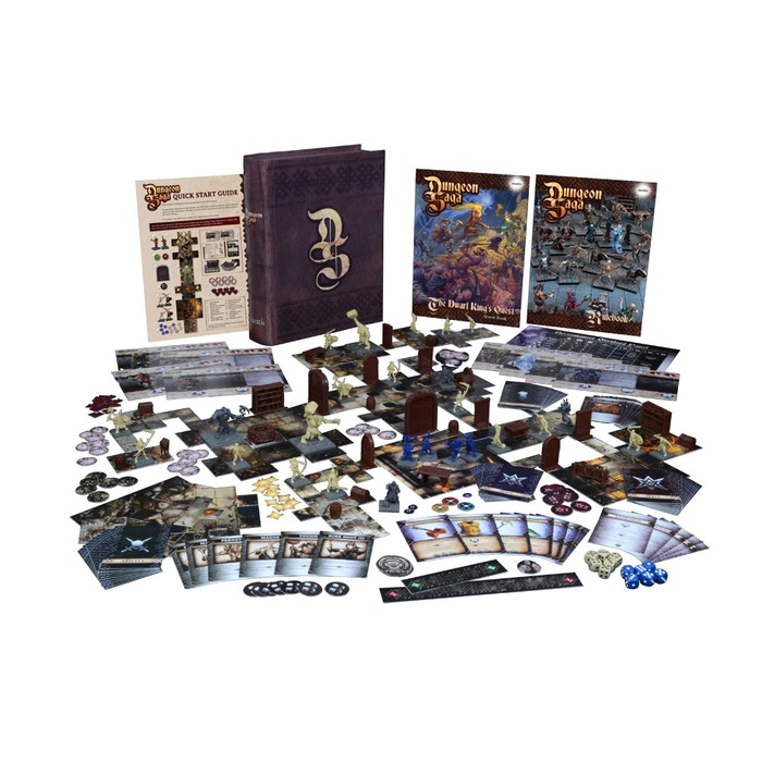 Dungeon Saga is a classic adventure board game where mighty heroes battle evil monsters in a tight and twisting fantasy dungeon!