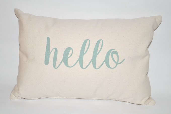 """Customized Pillows from the fabulous Finch and Cotter.  12 x 18 inches with a zipper along the bottom.  """"hello"""" on the front"""