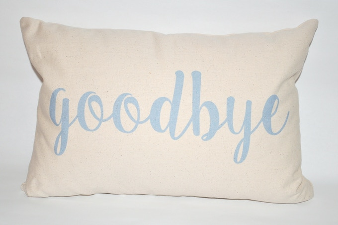 """goodbye"" on the back."
