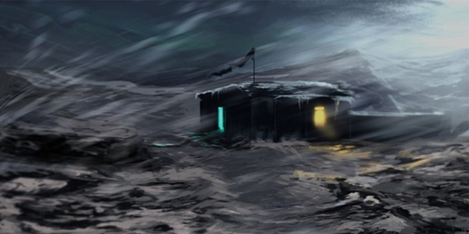 """Concept of """"The Thing """" inspired Siberian outpost map"""