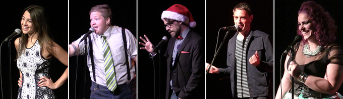 Storytellers at The Mystery Box Show (from left to right: Ceara Lynch, Henry Bear, Matt Fraction, Hutch Harris, Lady Coquine)