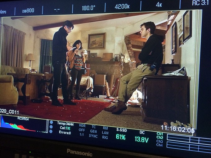 Behind the scenes with our Nic Trikonis (DP), Ariana Malik (1st AD) and Joey Schmitz (Gaffer).