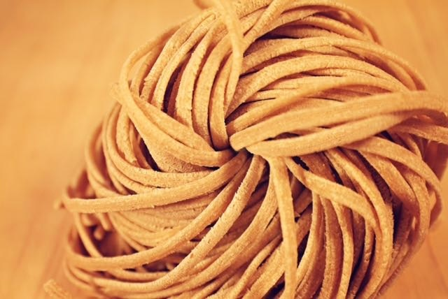 Red wheat Linguini a.k.a. the pasta vortex, where everything turns delicious.