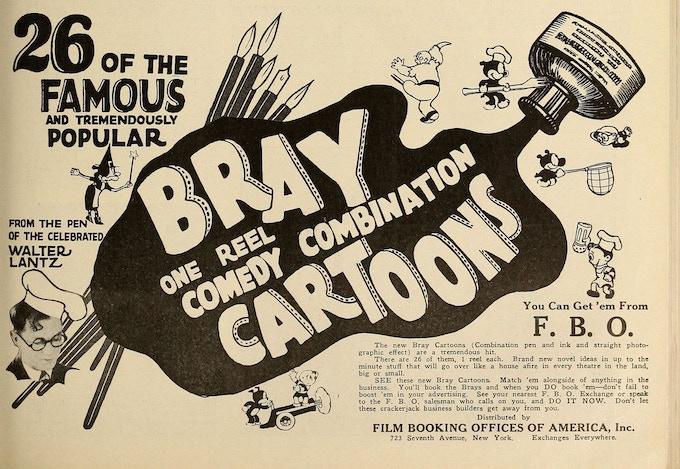 A trade magazine ad for Walter Lantz's Bray cartoons