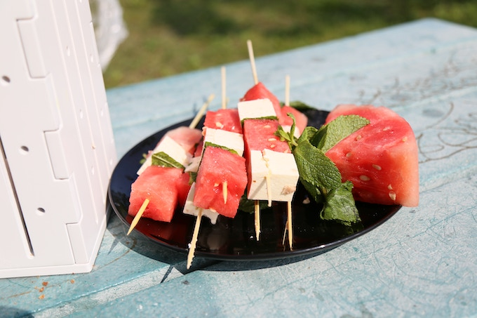 Melon, cheese & mint skewer