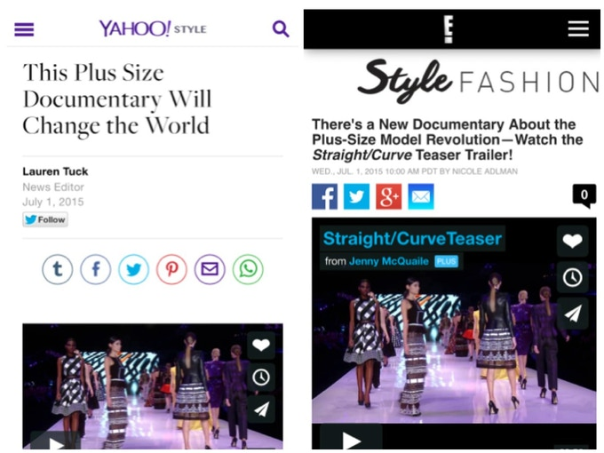 Yahoo Style and E! reporting on Straight/Curve