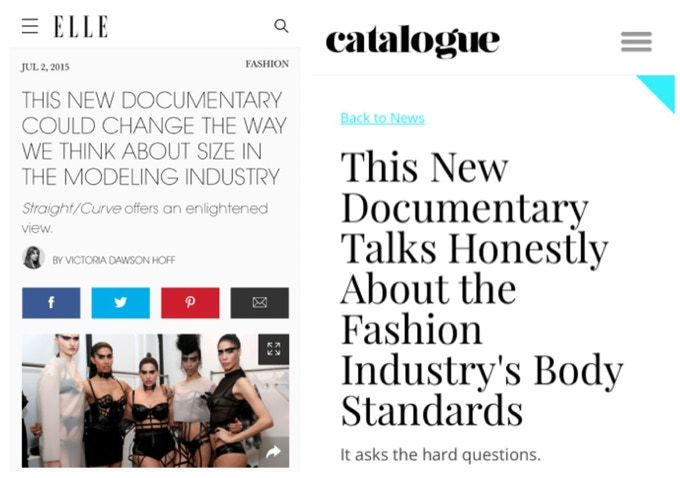 Elle Magazine and Catalogue Magazine in Australia reporting on Straight/Curve