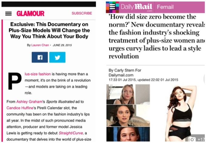 Glamour Magazine and The Daily Mail writing about Straight/Curve