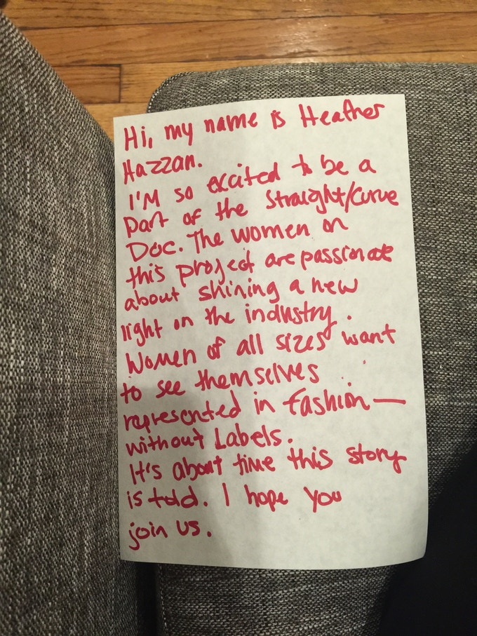 Model Heather Hazzan encouraging you to help our Kickstarter.