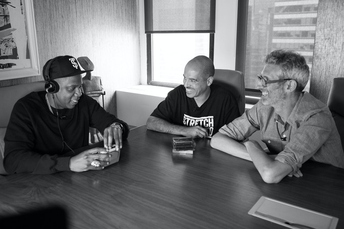 """Shawn """"Jay Z"""" Carter listening to archive Stretch and Bobbito radio show during film interview. Photo by Matt McGinley"""