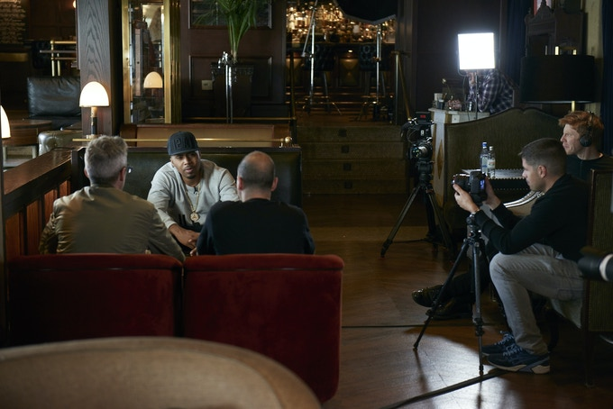Nasty Nas on camera being interviewed by Stretch and Bobbito. Photo by Gio Reda