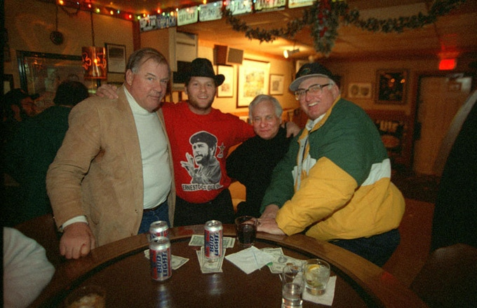 Dad, me, Dick Schaap and Fuzzy Thurston at Fuzzy's bar, Shenanigan's, during the 1996-97 season.