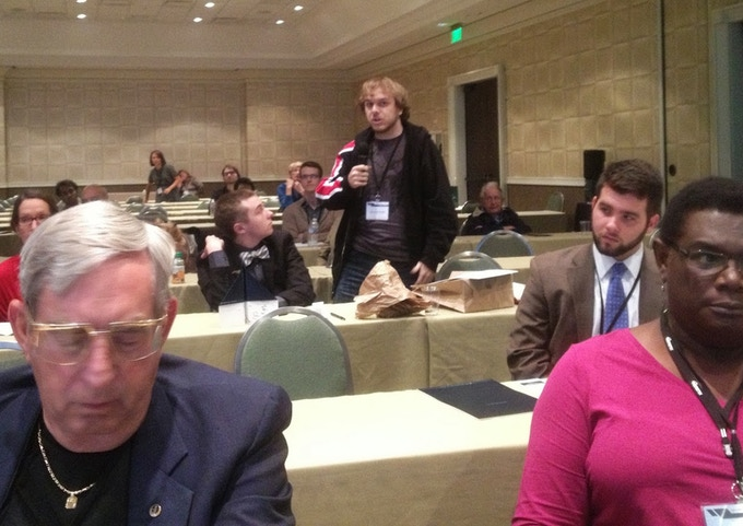 Attendee James Wright addresses Near-Term Questions panel at SC13