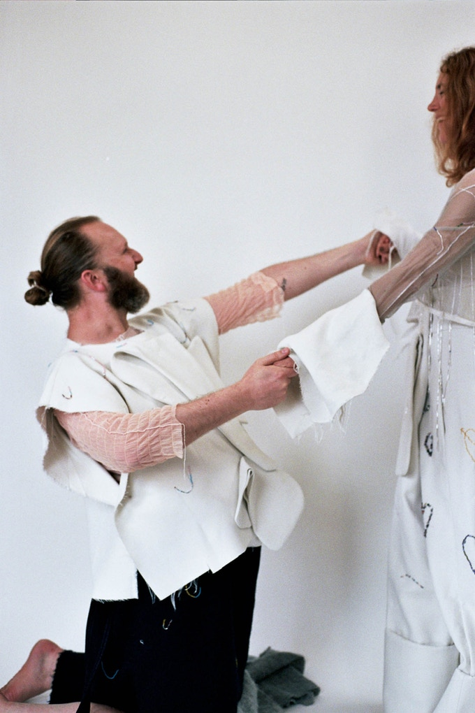 Designers Dean Sidaway and Susan Cianciolo model for Cakeboy 02.