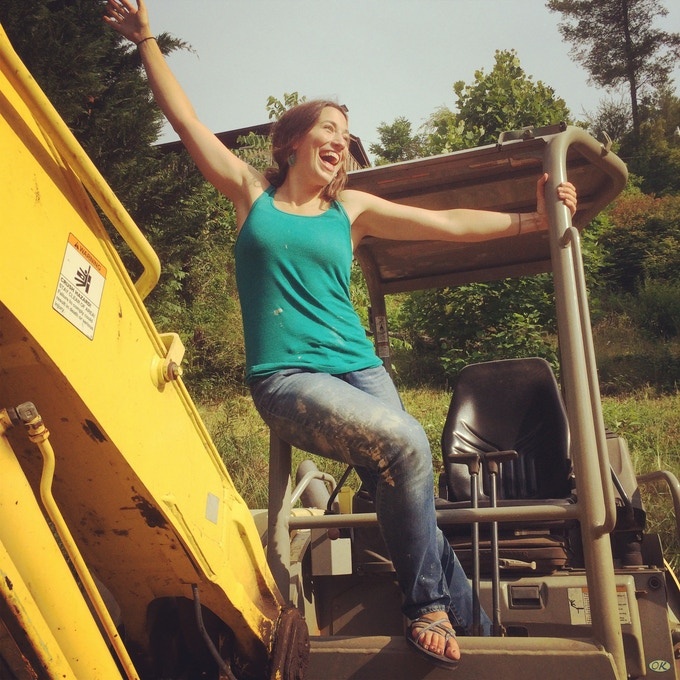 Molly and the backhoe.