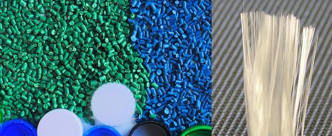 Polypropylene pellets and fibre glass