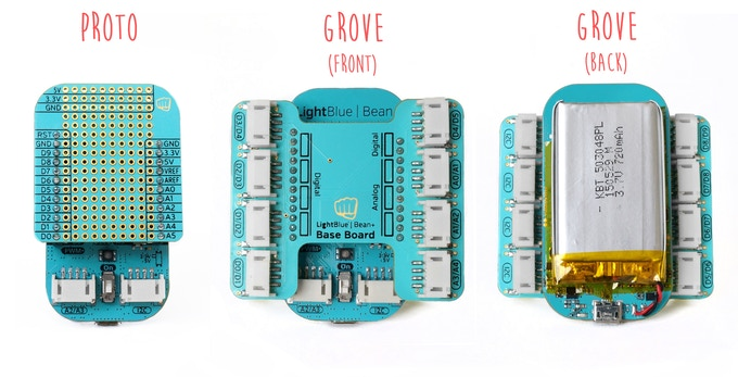 The protoboard and Grove shield developed for the Bean+