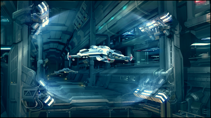 Concept art for a hangar.