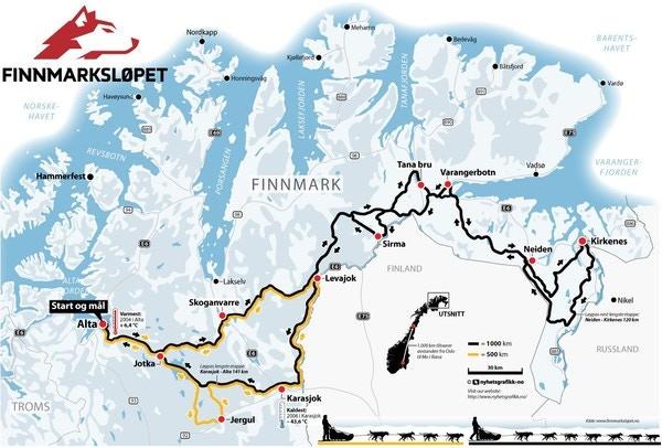 Map from Finnmarkslöpet