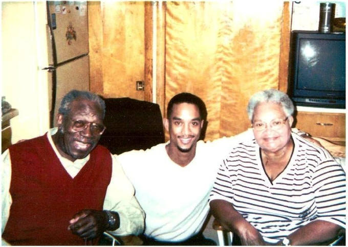 Gene Mobley and Mamie Till Mobley in conversation with Keith Beauchamp (center) [1996]
