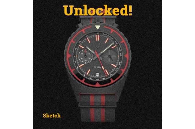 """Sketch of the unlocked stretch goal color """"Bloody Bull"""" with 2-eye mecha-quartz movement"""