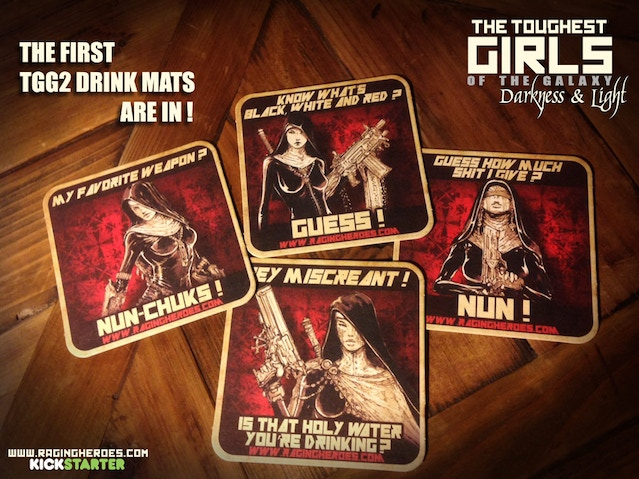 The TGG2 Drink Mats, featuring the Daughters of the Crucible