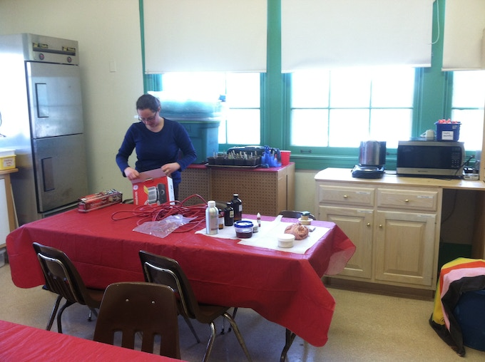 Sarah setting up for soap class for local 4-H club