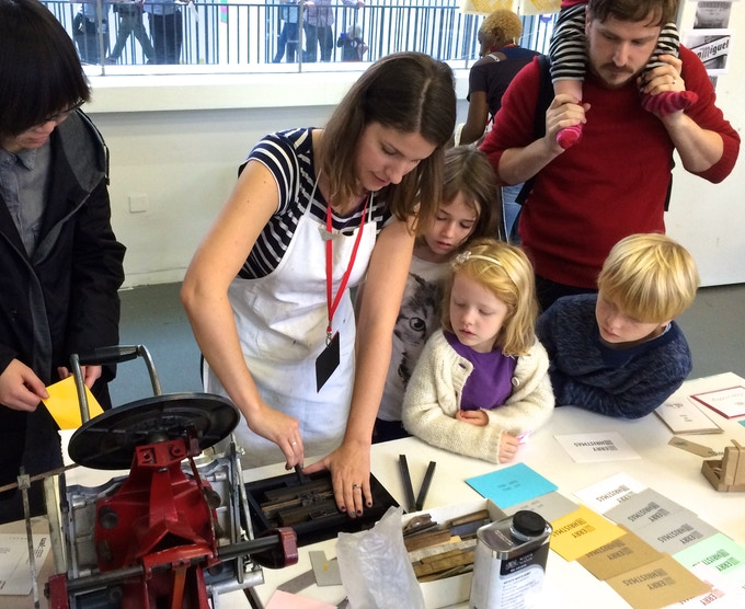 Teaching all ages the art of letterpress at the Elephant & Castle Mini Maker Faire