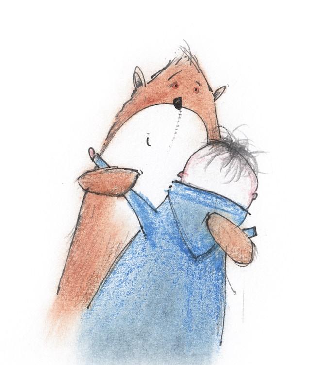 Errol gives Teddy a hug