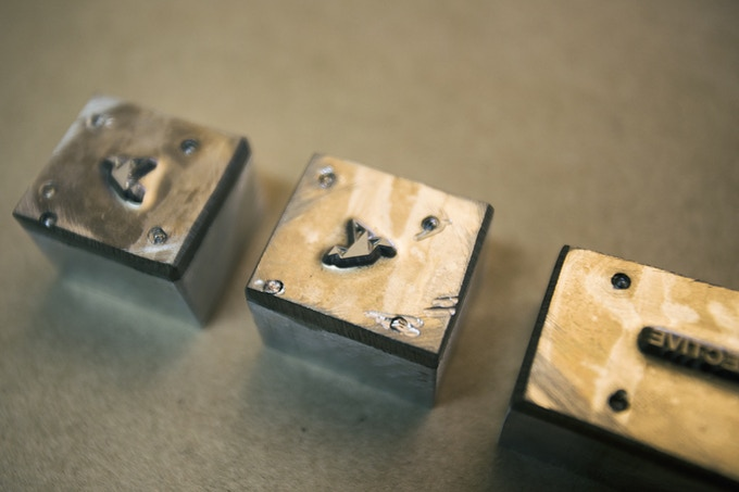Machined aluminum dies for debossing logo's into eyewear arms
